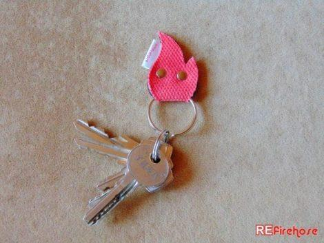 Fire hose keychain firefighter accessory from recycled red colored fire hose