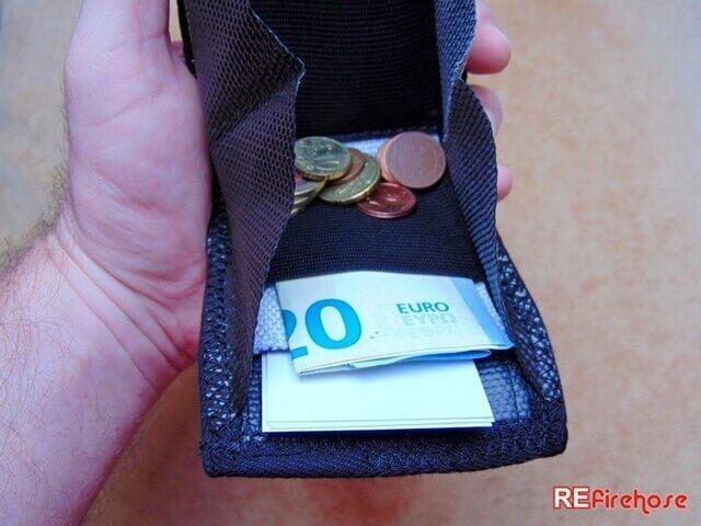 Small change wallet slim and safe coin pusre from hard wearing fire hose