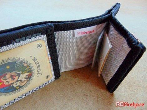 Vegan wallet because made without violence from strong durable fire hose