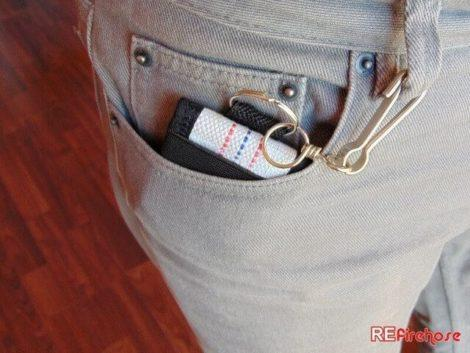 Pocket wallet connectable with key ring and carabiner to make it more safe