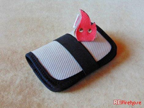 ID card wallet from fire hose with red flame shaped firefighter keychain